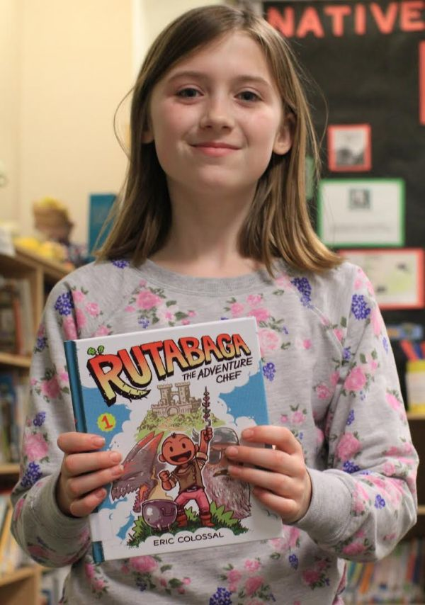 "Donors Choose Book ""Rutabaga"" held by girl"
